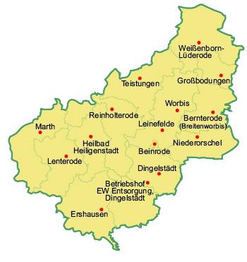 eichsfeld karte Annahmestellen für Bioabfälle   Eichsfeldwerke GmbH